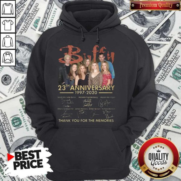 Buffy 23th Anniversary 1997 2020 Thank You For The Memories Signatures Hoodie