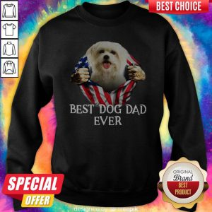 Official Blood Inside Me Flat Maltese Dog American Flag Best Dog Dad Ever Sweatshirt