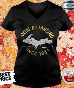 Funny Social Distancing Since 1837 Vintage V-neck