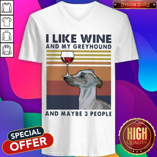 I Like Wine And My Greynd Maybe 3 People Vintage V-neck