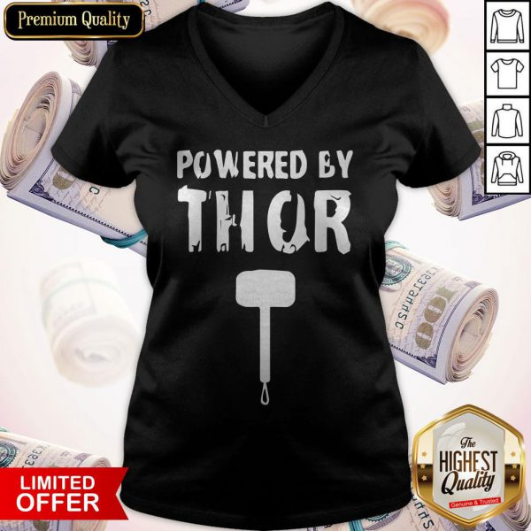Powered By Thors Hammer Halloween V-neck