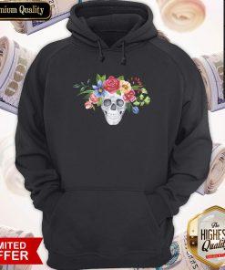 Water Color Dia De Muertos Skull Flower Hoodie
