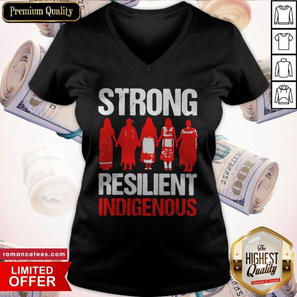 Native American Woman Strong Resilient Indigenous V-neck