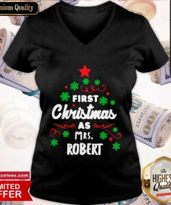 First Christmas As Mrs. Robert Tree V-neck- Design By Romancetees.com