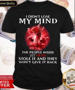 Top Dragon I Didn't Lose My Mind The People Inside My Head Stole It And They Won't Give It Back Shirt- Design By Romancetees.com