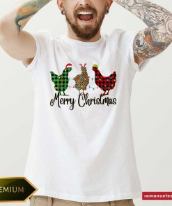 Chickens Leopard Plaid Lights Merry Christmas Shirt- Design By Romancetees.com