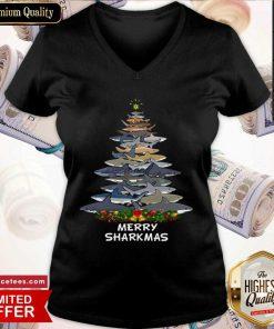 Sharks Tree Merry Sharkmas V-neck- Design By Romancetees.com