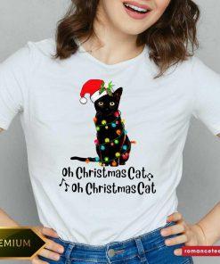 Black Cat Santa Light Oh Christmas Cat Oh Christmas Cat V-neck- Design By Romancetees.com