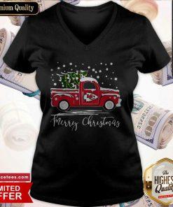 Merry Christmas Kansas City Chiefs Truck V-neck- Design By Romancetees.com
