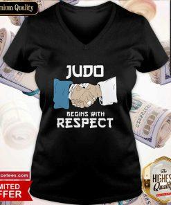 Judo Begins With Respect V-neck- Design By Romancetees.com