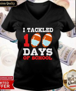 I Tackled 100 Day Of School Tee V Neck- Design By Romancetees.com