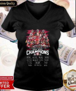 Alabama Crimson Tide Rose Bowl Champions 2021 Signatures V Neck- Design By Romancetees.com
